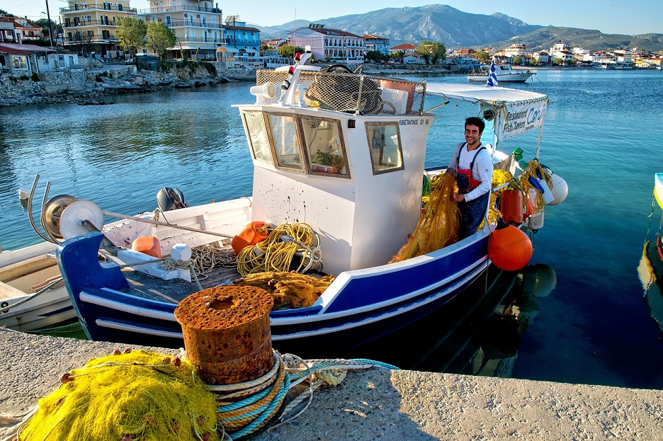 samos greece fishing boat